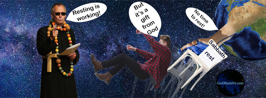 Picture of the Sabbath rest (chair) being pulled from underneath a falling man by the world.