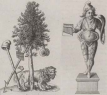The left illustration shows items associated with Cybele and Attis. The right illustration shows idol of Attis with pan pipe and shepherd's crook.