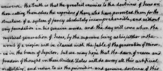 Picture of a portion of a letter from Thomas Jefferson to John Adams from April 11, 1823.