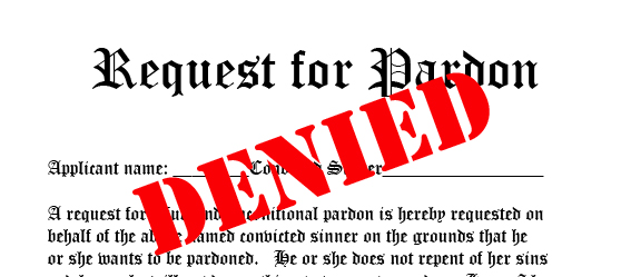 Picture of a pardon request with the word denied stamped across it.